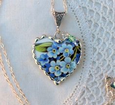 Broken China Jewelry China Heart Pendant by Robinsnestcreation1, $44.95