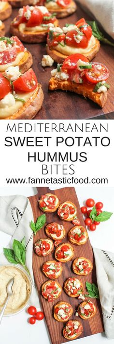 These Mediterranean Sweet Potato Hummus Bites make a great simple and easy appetizer. Just a few ingredients and less than 30 minutes to an impressive, healthy, and flavorful appetizer you can be proud to serve your friends.     healthy appetizer recipe  