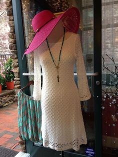 You can wear this Beautiful White Crochet Dress by Lily with this cute pink straw hat to the Fashion Show next Saturday at the Meadowbrook Inn and be the hit of the party:)! What fun!  I'm also showing this with our Virgin Saints & Angel Necklace which is a beautiful piece!  Lily Dress $98.99 Straw Hat $24.99 VSA Design Necklace $234