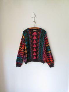 Vintage 80s Sweater ... Prismatic Rainbow by sparvintheieletree, $40.00