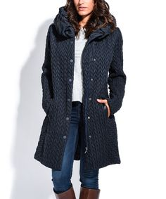 Areline Navy Chevron Cowl-Neck Coat | zulily  . $109.99 / $191.40  . size: size chart US 4 / FR 1 . US 6 / FR 2 . US 8 / FR 3 . US 10 / FR 4 . US 12 / FR 5 .Description:  Stay toasty in this puffer jacket featuring zip and button styling, gentle shaping & oh-so comfy quilting. A chevron stitch & cowl-neck offer a chic update.  MODEL WEARING Size US 4 / 1 FR: 33'' long from high point of shoulder to hem : 5'8'' tall; 35'' chest; 29'' waist; 35'' hips .100% polyester Machine wash