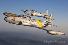 A nice view of a pair of Lockheed T-33 Shooting Stars.