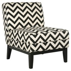 Cotton-linen upholstered side chair with a birch wood frame and chevron motif.   Product: ChairConstruction Material: