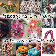 10 Free Crochet Patterns Made with Hexagons bags sweater baby slippers adult women children men blanket