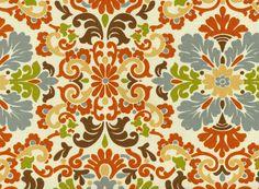 Bedroom pic window Home Decor Print Fabric- PKL Folk Damask Terracotta