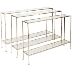 Worlds Away Nickel Plate Console with Clear Glass Shelves WOODARD N
