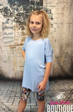 Kids Sky Colored Short Sleeve Piko-Style Tunic
