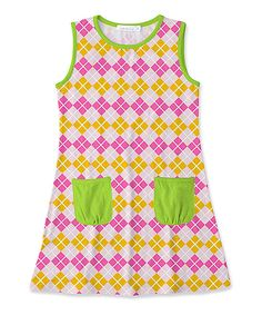 f58f12205 Sunshine Swing Yellow & Pink Geometric Pocket Sleeveless Dress - Toddler &  Girls