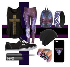 """Galaxy back to school"" by mrssaxobeat19 ❤ liked on Polyvore featuring Vans, NARS Cosmetics and Casetify"