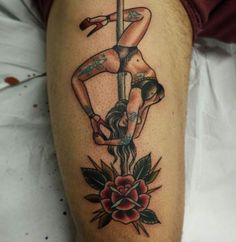 Who says pole dancing isn't an art? Tattoo by Katie Trojan. #inked #traditional #tattoo #pole #dance #dancer #ink #awesome