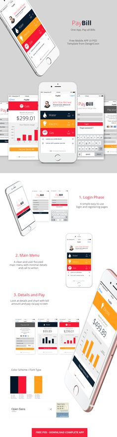 The mobile app UI consists of 9 free PSD template :SplashLoginRegisterMain MenuWater BillGas BillElectricity BillBill Pay Screen Update Profile DetailsFonts used to design :Open Sans Grab this free mobile app psd today from us and…