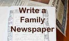write a family newspaper - awesome homeschool lesson idea and great to send out to relatives at Christmas