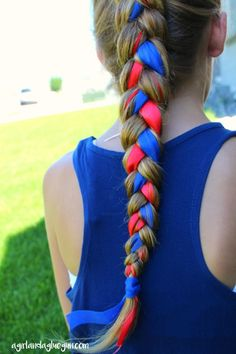 ribbon braid for patriotic hair