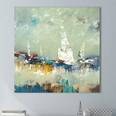Breakwater Bay 'Sailing Away' Painting Print on Wrapped Canvas Size: Painting Prints, Wall Art Prints, Framed Prints, Canvas Prints, Canvas Size, Canvas Frame, Canvas Wall Art, Canvas Canvas, Calming Colors