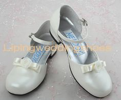 beautiful ivory satin flower girl shoes with bow