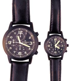 Charles Raymond His & Hers Matching Watch Set Black Leather Band with Black Face