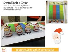 #PTAsocial #xmasfairideas - Santa racing game. See them all at https://www.ptasocial.com/christmas-fair-ideas/