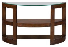 Avon Contemporary Demilune Sofa Table w/Tempered Glass Top