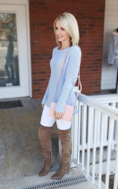 Pretty pastel blue sweater, white denim, suede boots, crossbody bag, spring style