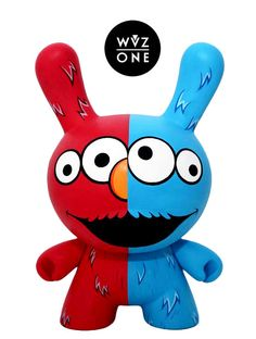 """Elmo & Cookies"" Custom Kidrobot Dunny by WuzOne!!!"