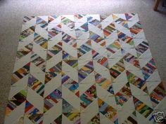 Half-square triangles made with strip-pieced fabric. more strings