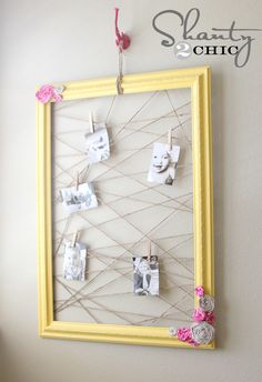 DIY~ Make a cool Memo/Photo Frame with a frame, fabric for the roses, some paint and twine