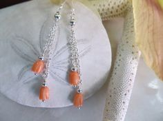Coral earrings Dangle earringsCarved coral by Inspiredby10 on Etsy, $22.00