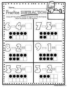 SUBTRACTION -kindergarten worksheets -ten frame subtraction #kindergarten #kindergartenmath #mathjournals #math