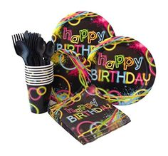 Neon Glow Birthday Party Supply Pack! Bundle Includes Paper Plates, Napkins, Cups & Silverware for 8 Guests - http://partythings.com/neon-glow-birthday-party-supply-pack-bundle-includes-paper-plates-napkins-cups-silverware-for-8-guests.html