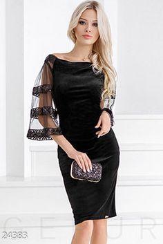 Gepur | Неотразимое бархатное платье арт. 24383 Цена от производителя, достоверные описание, отзывы, фото , цвет: , цвет: черный