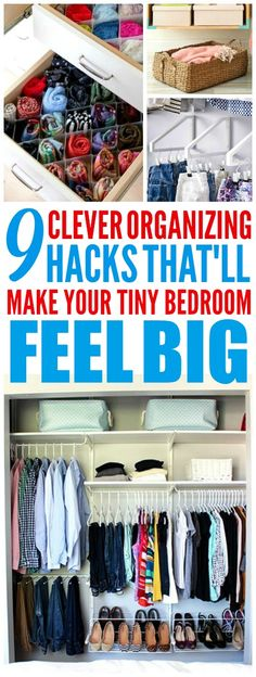 These 9 clever ways to organize a small bedroom are THE BEST! I'm so happy I found these AWESOME tips! Now I have some great ways to organize my bedroom and have it feel way bigger! Definitely pinning these small bedroom organization tips!