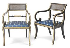 A pair of Regency ebonized and parcel gilt armchairs, first quarter 19th century.