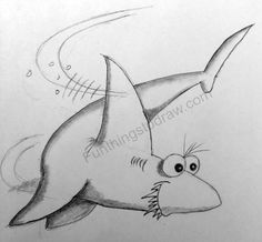 A silly shark drawing in pencil - Fun Things to Draw Cartoon Drawings, Cool Drawings, Pencil Drawings, Shark Drawing, Best Pencil, Online Tutorials, Some Ideas, Fun Things, Image