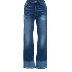 Frame Denim Adair High-Rise Straight-Leg Jeans ($245) ❤ liked on Polyvore featuring jeans, medium wash, stretch blue jeans, stretchy jeans, super stretch jeans, high waisted straight leg jeans and stretch jeans