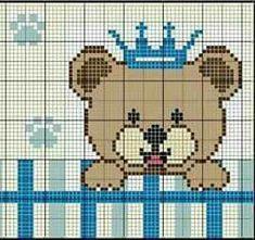 Urso com coroa Pixel Crochet Blanket, Afghan Crochet Patterns, Cross Stitch Baby, Cross Stitch Embroidery, Cross Stitch Designs, Cross Stitch Patterns, Baby Dyi, Baby Teddy Bear, Baby Kiss