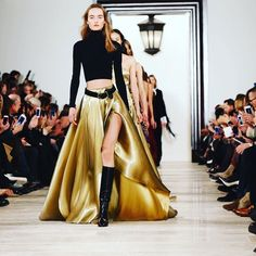 Liquid gold at the #finale of the @ralphlauren #fashionshow . #nyfw . by @lizlippphoto