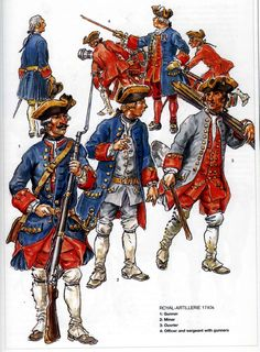 French; Royal Artillery, 1740s. Top  Sergeant, Officers & Gunners. Bottom L to R - Gunner, Miner & Ouvrier Military Figures, Military Art, Military History, Military Costumes, Military Uniforms, Louis Xvi, Osprey Publishing, Frederick The Great, Early Modern Period