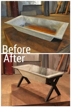 This farm trough was transformed into creative coffee table!