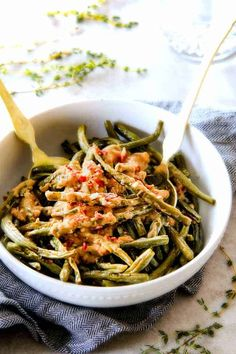 Roasted Green Beans with Creamy Gruyere Sauce