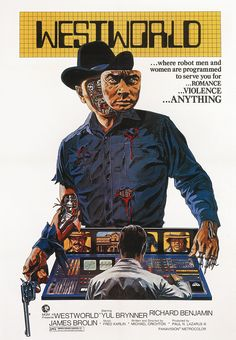 Westworld is a 1973 science fiction-thriller film.It stars Yul Brynner as an android in a futuristic Western-themed amusement park, and Richard Benjamin and James Brolin as guests of the park. Michael Crichton, Films Cinema, Sci Fi Films, Cinema Posters, Film Posters, Westworld Movie, Westworld 1973, Vintage Movies, Storyboard