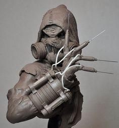 Batman Arkham Asylum Scarecrow Bust Sculpt 1 by AntWatkins.deviantart.com on @deviantART: