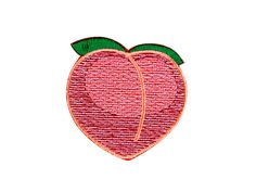 Peach Emoji Embroidered Iron On Patch - FREE SHIPPING by WinksForDays on Etsy (null)