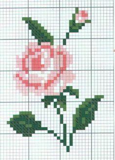 schema a punto croce - rosa