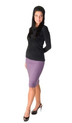 Hard Tail Pencil Skirt (Plum) is made of 90% cotton and 10% lycra. This Hard Tail pencil skirt is knee length.