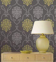 chartreuse green adn grey feature wall wallpaper decor idea