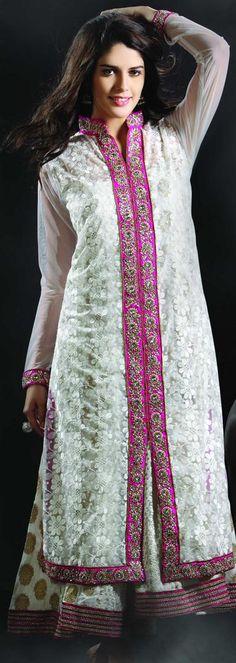 $183.56 White Net Chaniya Choli 18945 With Unstitched Blouse