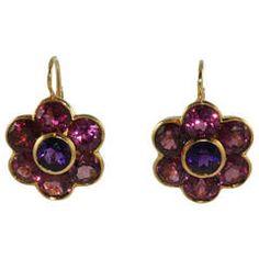 Rhodolite Garnet and Amethyst Flower Earrings | From a unique collection of vintage lever-back earrings at https://www.1stdibs.com/jewelry/earrings/lever-back-earrings/