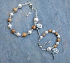 Personalized Baby Bracelet and Matching Godmothert Set - Holy Land Olive Wood and White Pearl - Baptism Gift - Custom Rosary - Swarovski by RosariesOfLove on Etsy