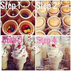 Ice cream cone cupcakes. Icecream Cone Cupcakes, Cupcake Cones, Ice Cream Cupcakes, Ice Cream Party, Chocolate Cupcakes, Birthday Treats, 8th Birthday, Cake Recipes, Dessert Recipes