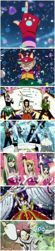 Fairy Tail characters, guild, hand sign, comic, parade; Fairy Tail